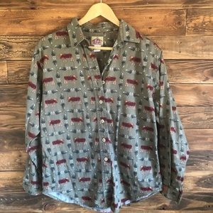 Vintage Barnfly Moose Button Up